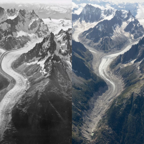Chamonix's glaciers from the air: 1919 v 2019